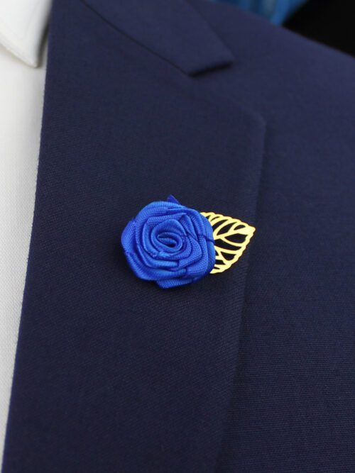 ROYAL BLUE LAPEL PIN FLOWER