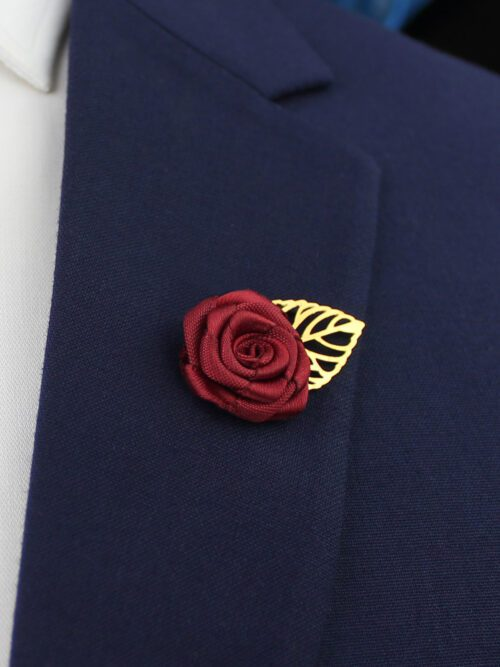 MAROON LAPEL PIN FLOWER