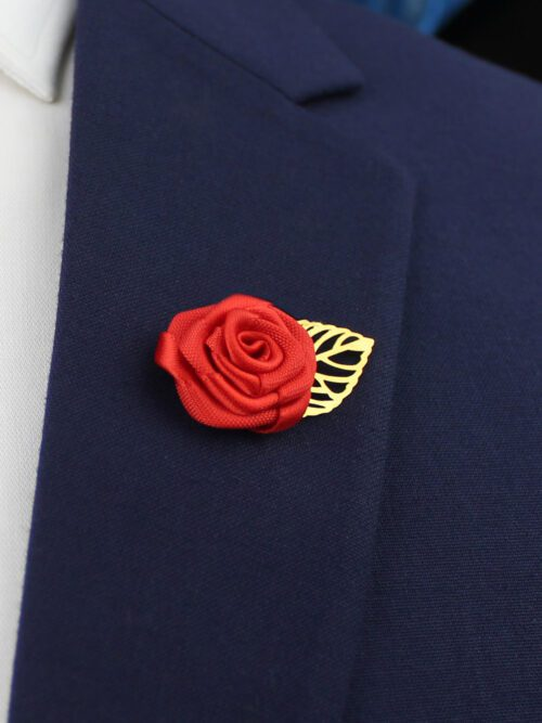 RED LAPEL PIN FLOWER