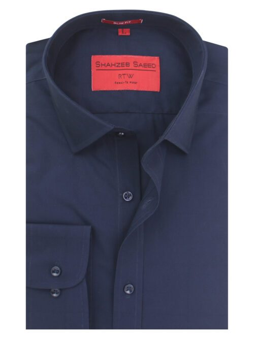 Navy Blue Plain Formal Shirt