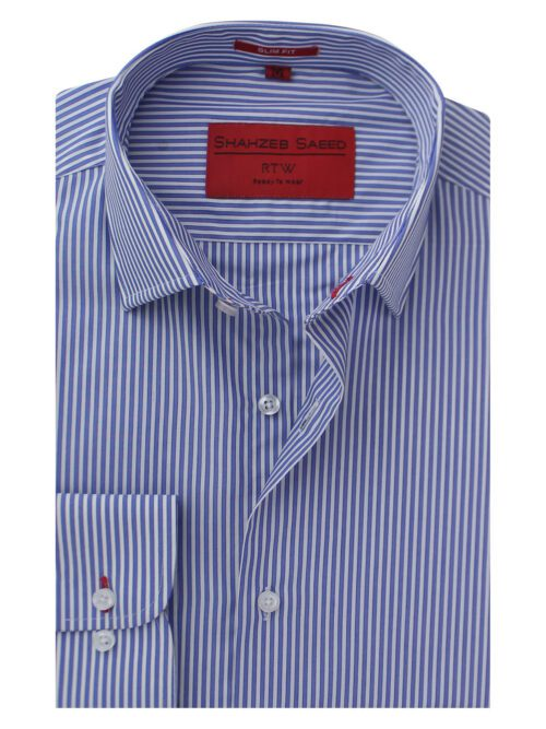 Blue And White Stripe Formal Shirt