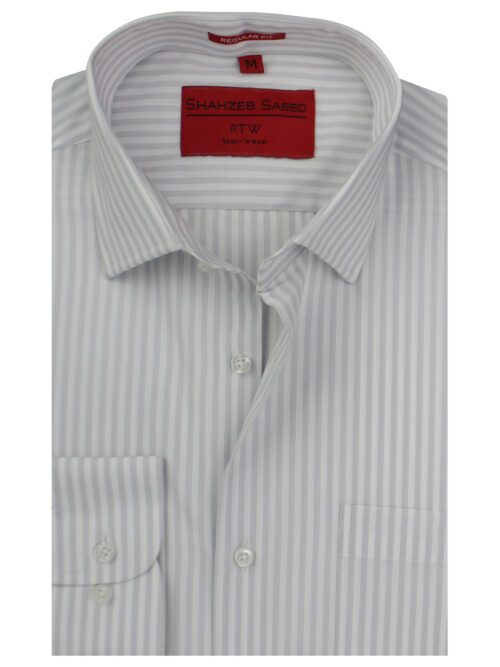 Grey And White Stripe Formal Shirts