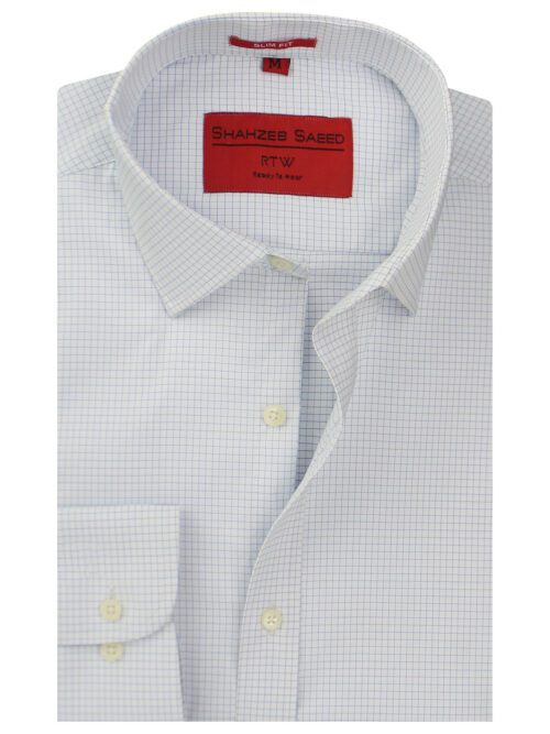 Blue And White Check Formal Shirts