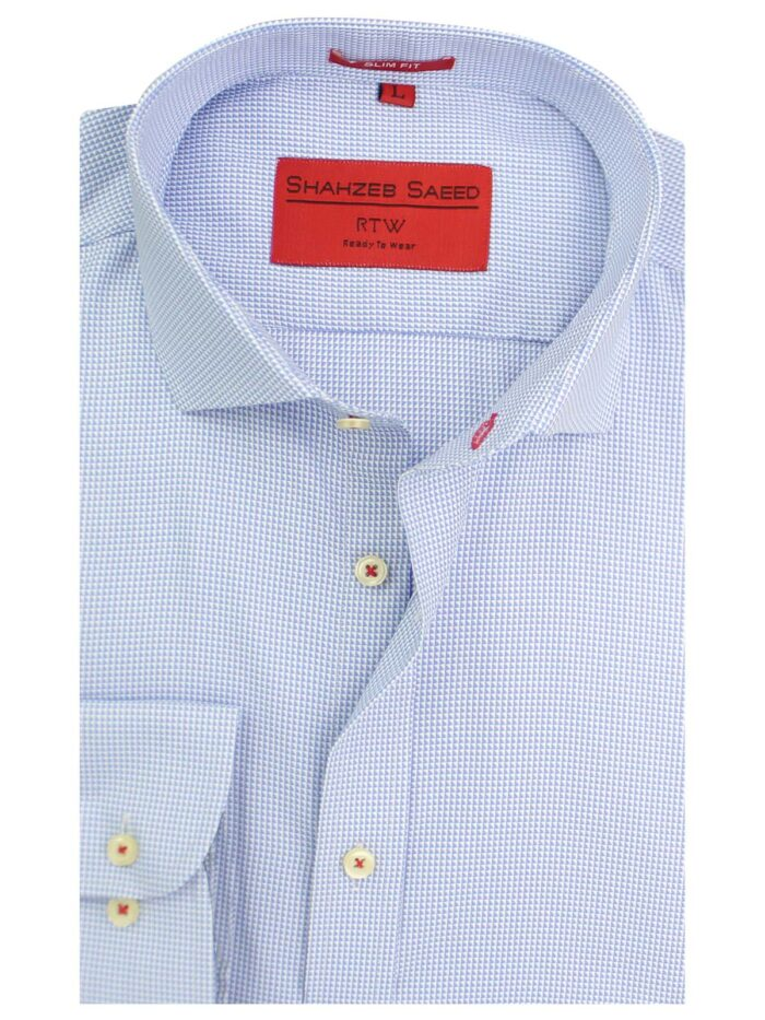 Blue And White Textured Formal Shirts