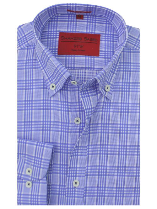 Blue And White Button Down Formal Shirts