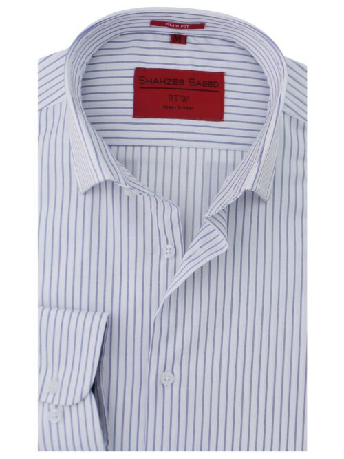 Purple And White Stripe Formal Shirt