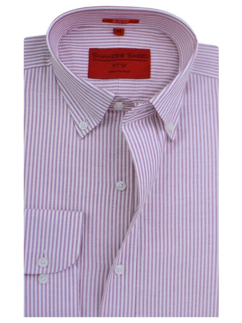 Pink And White Stripe Formal Shirt