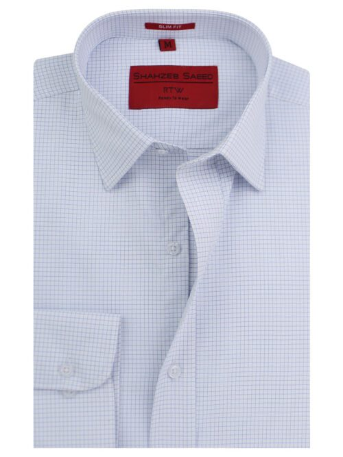 Blue And White Check Formal Shirt