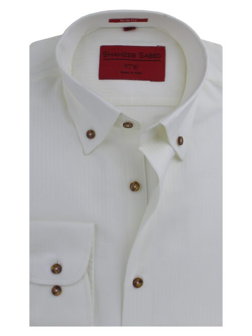 Off White Button Down Collar Formal Shirt
