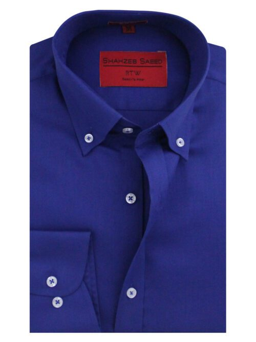 Royal Blue Button Down Collar Formal Shirt