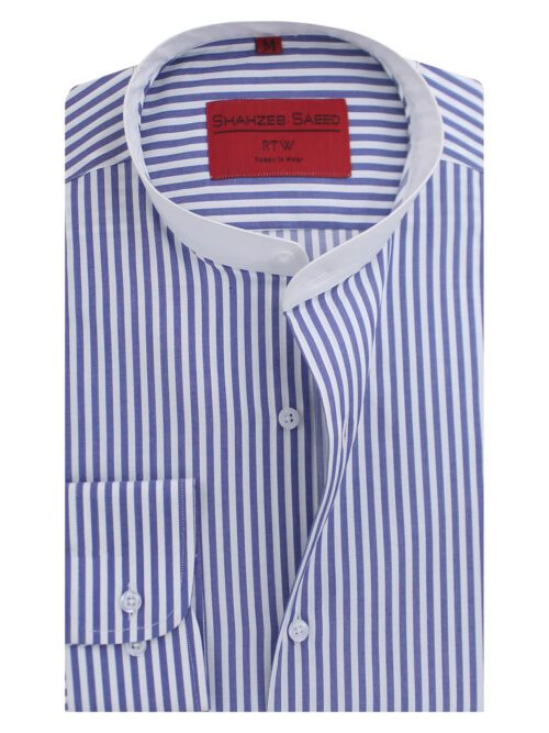 Blue And White Semi-Formal Shirt