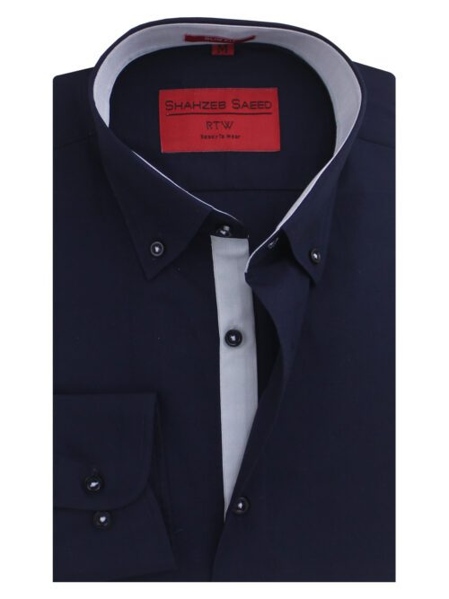Navy Blue Button Down Collar Semi-Formal Shirt