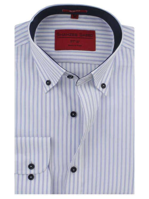 Blue And White Stripes Formal Shirt