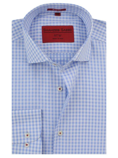 Blue And White Micro Check Formal Shirt