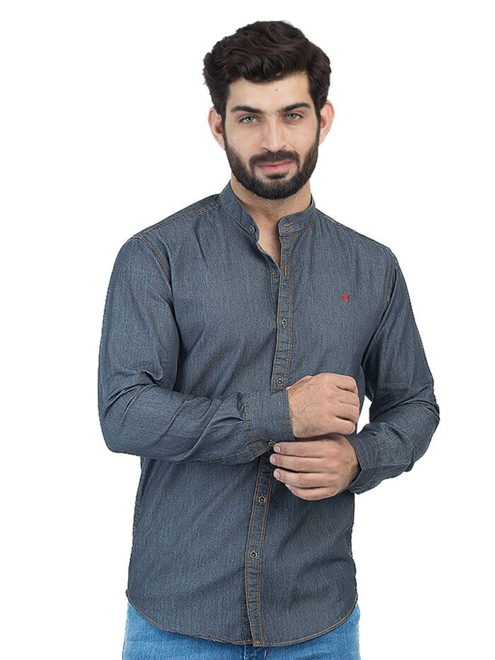 Dark Grey Denim Casual Shirt