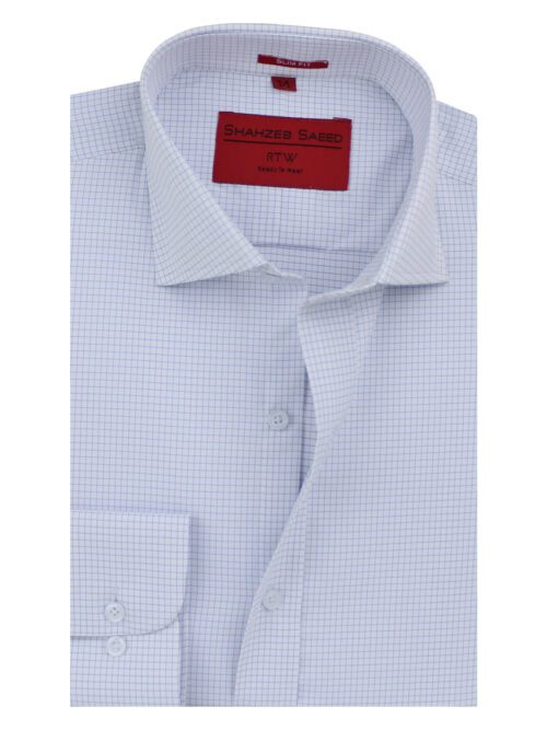 White And Blue Micro Check Formal Shirt