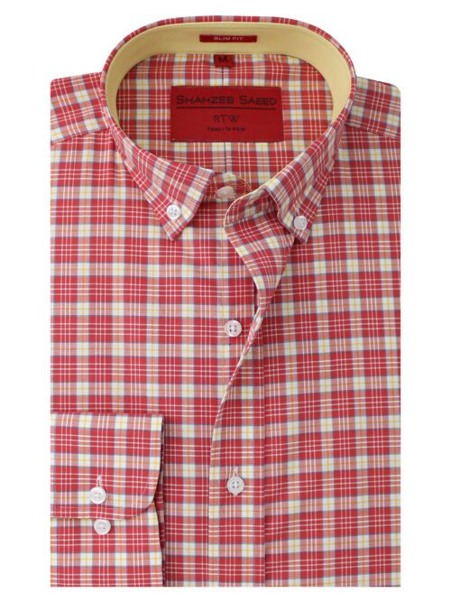 Red And Yellow Check Semi-Formal Shirt