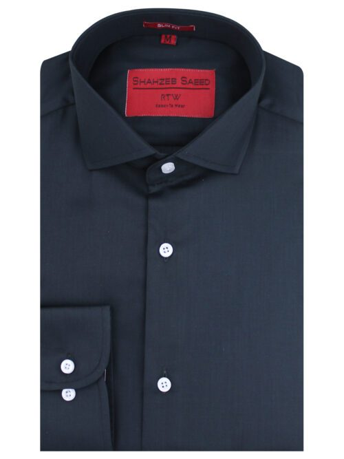 Black Plain Semi-Formal Shirt