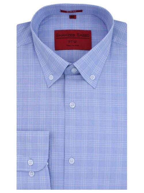 Blue Check Button Down Formal Shirt