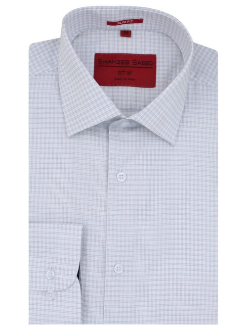 Grey And White Stripe Formal Shirt