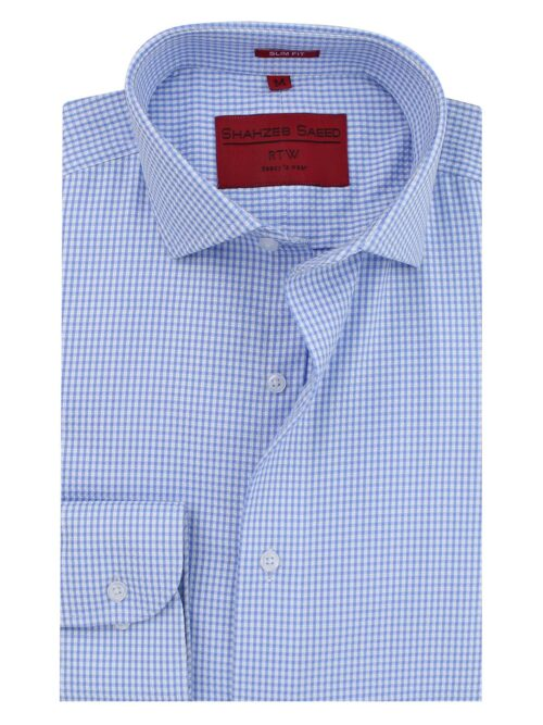 Sky Blue And White Check Formal Shirt