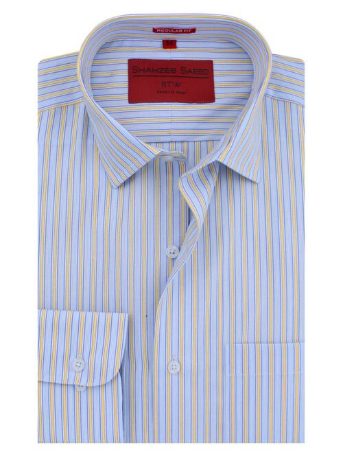 Blue And Yellow Stripe Formal Shirt