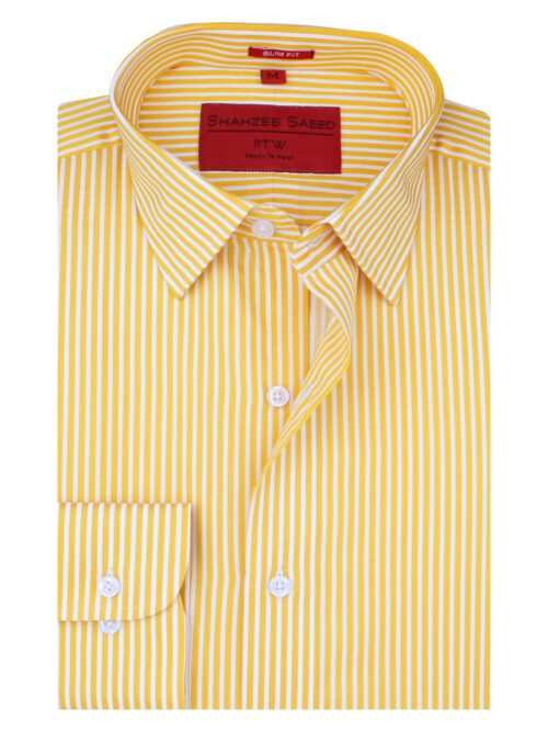 Yellow And White Striped Formal Shirt