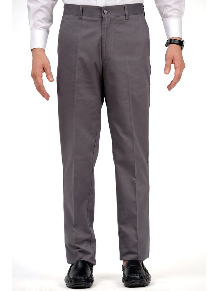Grey Wrinkle Free Cotton Trouser