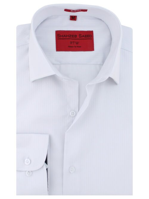 White Self Fabric Formal Shirt