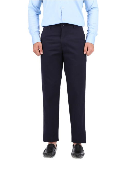 Navy Blue Wrinkle Free Cotton Trouser