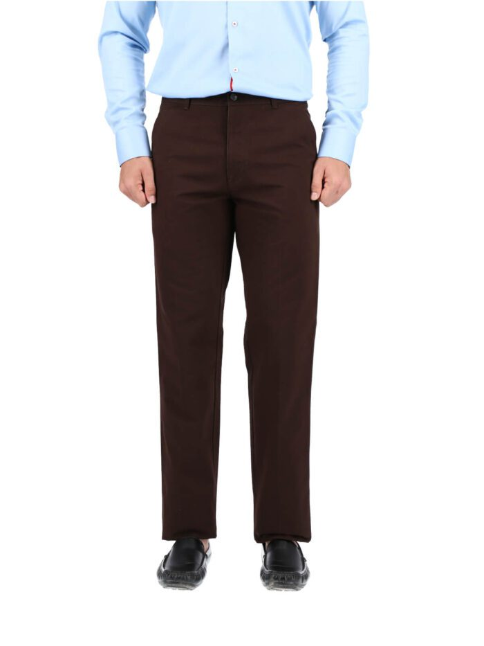 Choc Brown Wrinkle Free Cotton Trouser