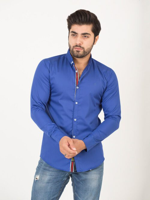 Royal Blue Plain Casual Shirt (CSW-190)