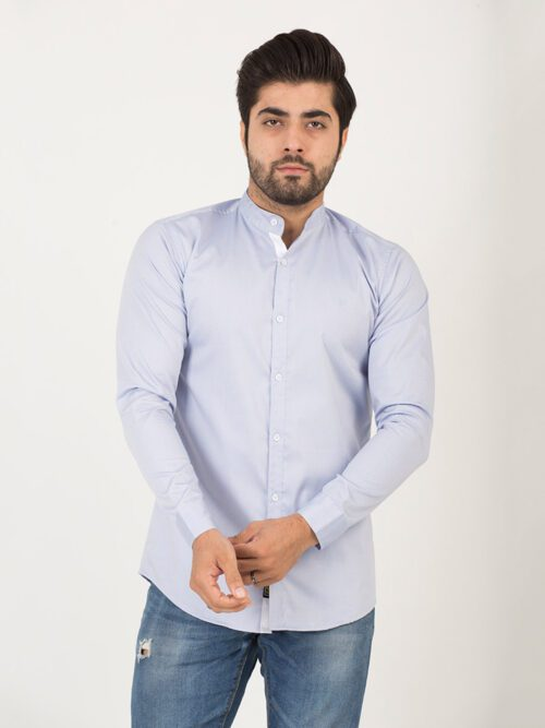 Sky Blue Casual Plain Shirt (CSW-191)