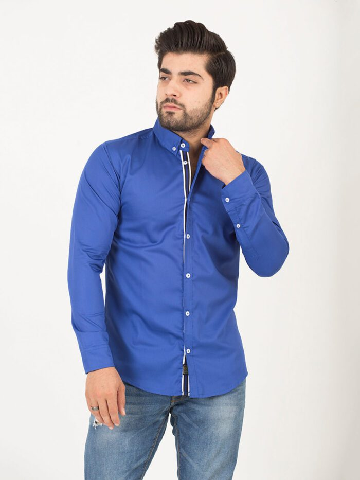 Royal Blue Plain Casual Shirt