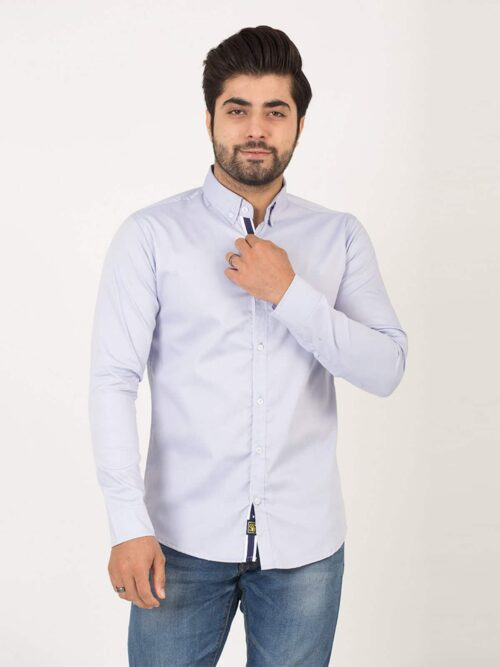 Sky Blue Plain Casual Shirt (CSW-193)