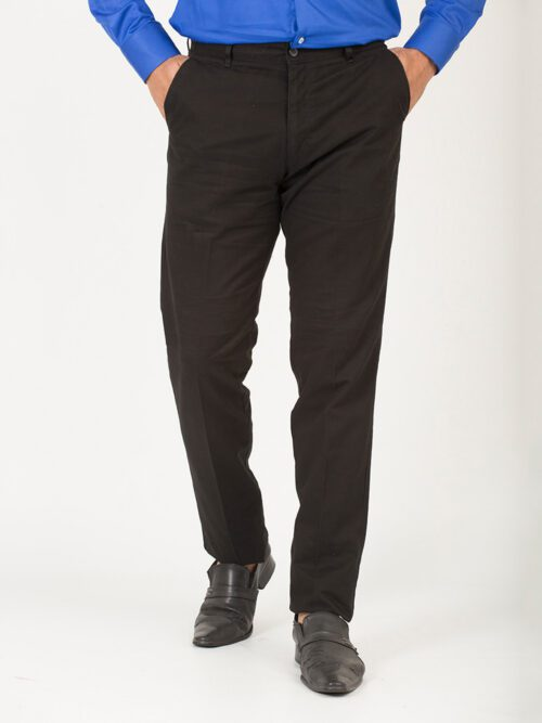 Black Wrinkle Free Cotton Trouser