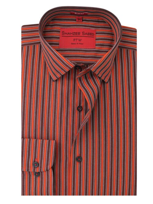 Brown & Orange striped shirt for men