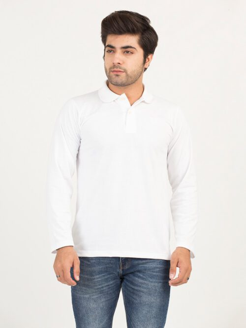 White Full Sleeves Polo Shirt (POLO-114)