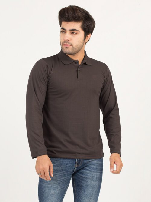 Brown Full Sleeves Polo Shirt (POLO-118)