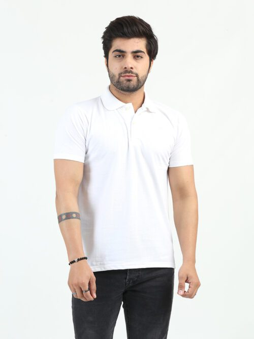 White Half Sleeves Polo Shirt (POLO-124)