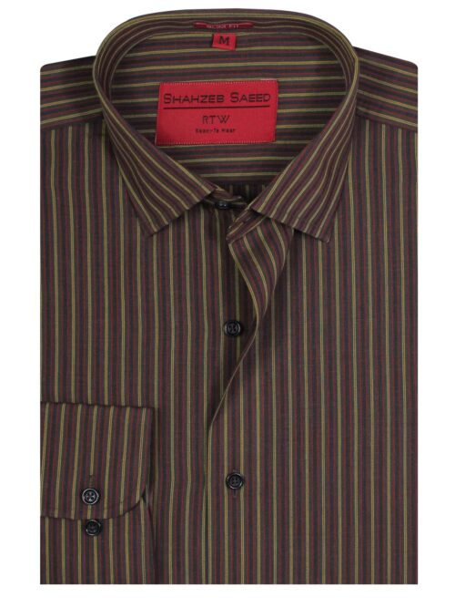 Brown Multi Striped Shirt for Mens