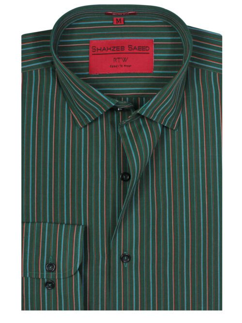Green Multi Striped Shirt for Men