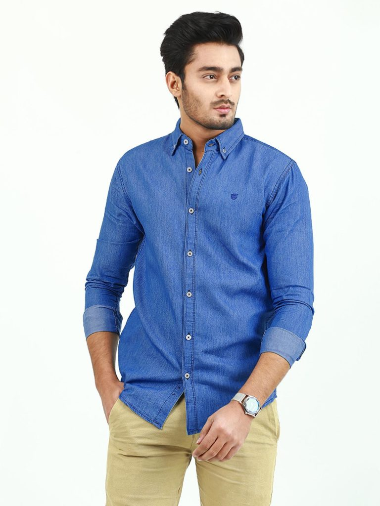 Denim Shirt Male Fashion A Classic Style That Suits Every Guy,  Some people hesitate to wear denim because it is difficult to style, but we assure you that obtaining out how to carry a denim shirt male fashion is easier than it looks. In fact, it's ample to wear since they go with everything. If you don't have anyone in your wardrobe fashion, go to the in-store or online store, choose up a stylish men denim shirt. It can be worn in hot and cool weather, spring and autumn months. They look more classic and comfier if you pair with jeans pants or cotton trousers. Shahzeb Saeed Denim shirts for men are the perfect outfit that mixes casualness and formalness. Be it a light wash or a distressed denim shirt mens, almost every style looks good on guys.    Trendy Denim Shirt Styles  Fashionable denim shirts are a classic piece that every person should own. Denim fabric is a very cool, versatile item and it also durable and easy to wear. If you want to make a denim shirt more stylish, your
