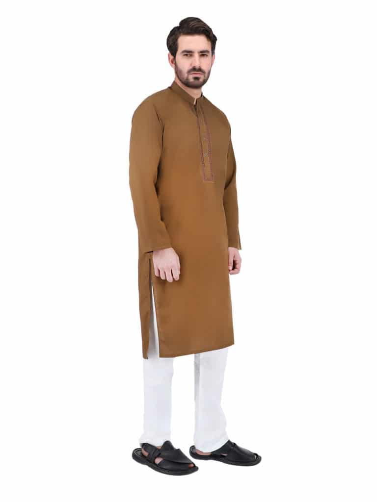 Remain Comfort and Stylish In Brown Kurta White Pajama, Pakistani kurta for men is the chosen dress of boys to old age men in the summer season and winter season. Because it is comfortable and comes in a traditional style. KurtaPajama comes in various colors from sober hues like white, black, blue, grey, gold, silver, brown to funky colors like fluorescent red, yellow, orange, and green. Classical means attires, especially kurtas, have now become a formal and casual staple of the fashion wardrobe. You can wear different color kurta with white pajama on festivals, special occasions, and casual gatherings by a huge style statement. Hence, you can buy online Shahzeb Saeed's complete range of kurtas collection. Thesemen kurta are available in various fits and styles.