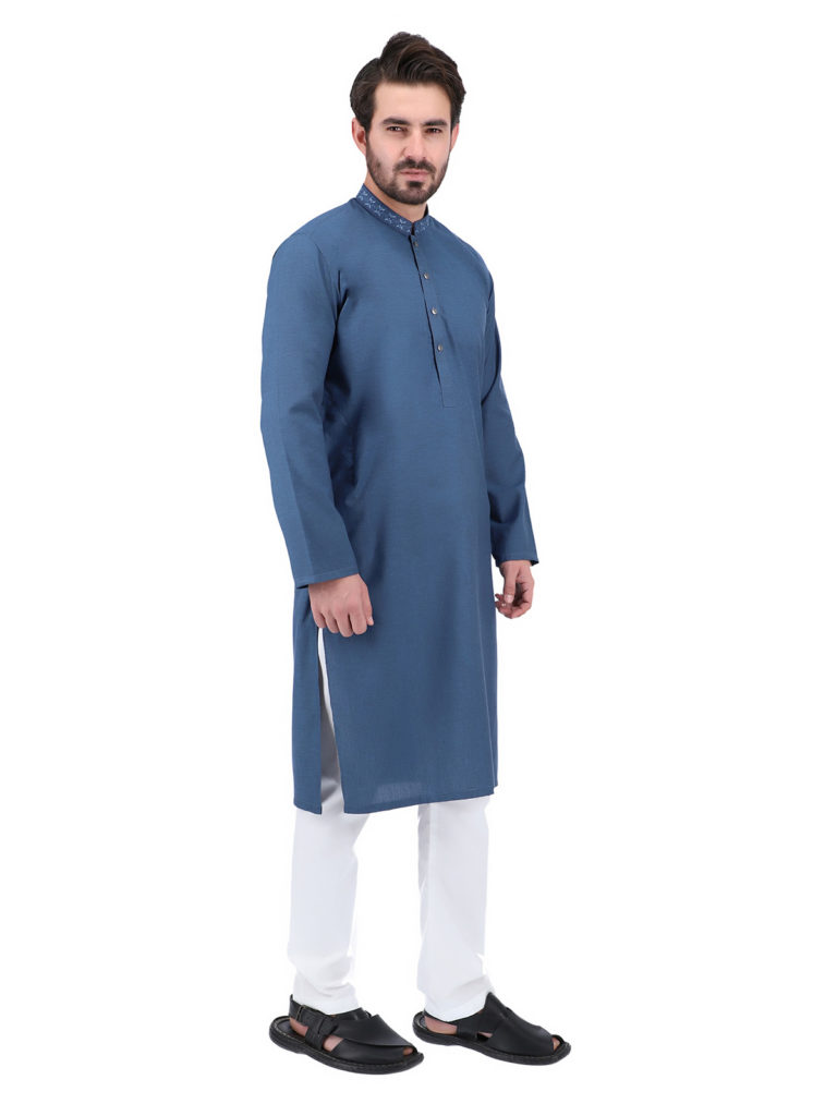 - Grey KurtaPajamaFor Men  Grey is an ideal color that suits every man and brings out the cool effect. A grey slim fit kurta can make an ultimate style statement with black pants or shalwar for any occasion without much thought.  5- Blue Slim Fit Kurta Pyjama  Blue is the favorite color of most men. It symbolizes sharpness, peace, calm, and empathy. A slim fit kurta pajama in denim blue makes your style quotient even higher. Choose solid men kurta in embroidered mandarin banded collar looks awesome for the festive occasions.  6- Pink ColorKurtaShalwar  Pink is commonly popular in women. But a light pink or tea pink kurta is the perfect shade for a man. Pink represents sensitivity and calmness. So wear a pink slim fit kurta with pajama and waistcoat in contrast colors for a formal style statement at any type of occasion.