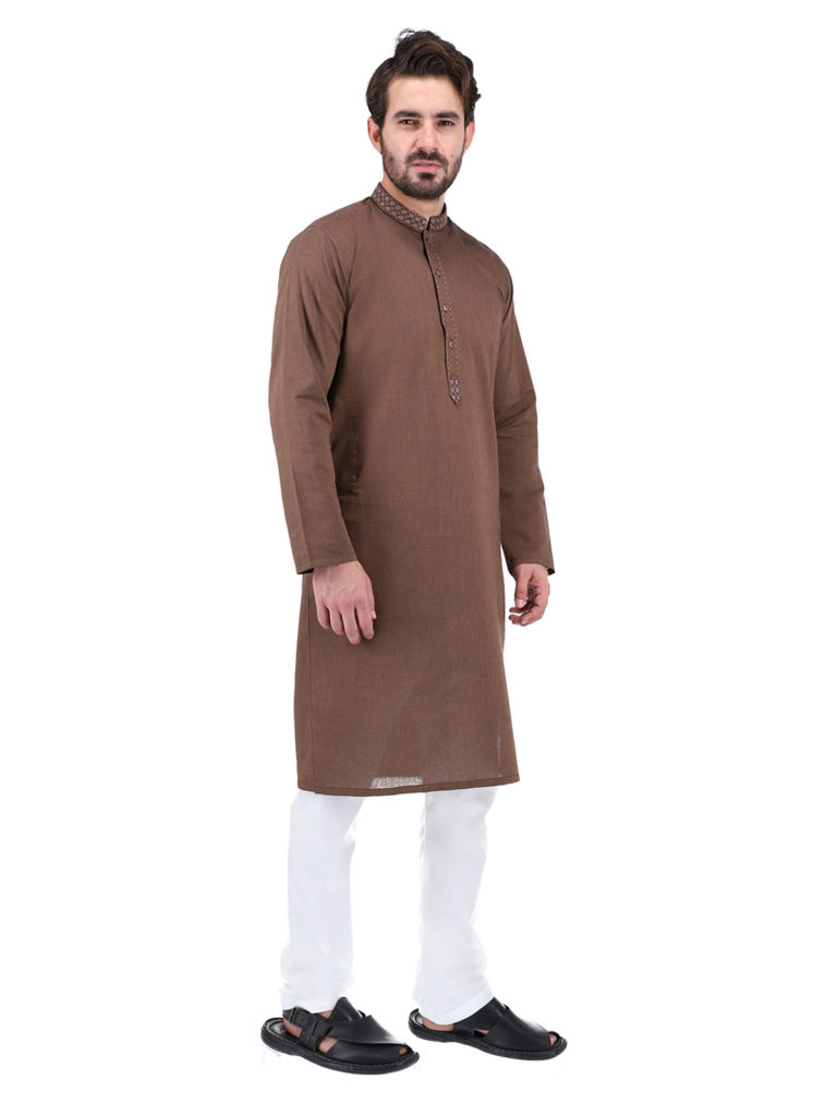 Remain Comfort and Stylish In Brown Kurta White Pajama, Pakistani kurta for men is the chosen dress of boys to old age men in the summer season and winter season. Because it is comfortable and comes in a traditional style. KurtaPajama comes in various colors from sober hues like white, black, blue, grey, gold, silver, brown to funky colors like fluorescent red, yellow, orange, and green. Classical means attires, especially kurtas, have now become a formal and casual staple of the fashion wardrobe. You can wear different color kurta with white pajama on festivals, special occasions, and casual gatherings by a huge style statement. Hence, you can buy online Shahzeb Saeed's complete range of kurtas collection. These men kurta are available in various fits and styles.