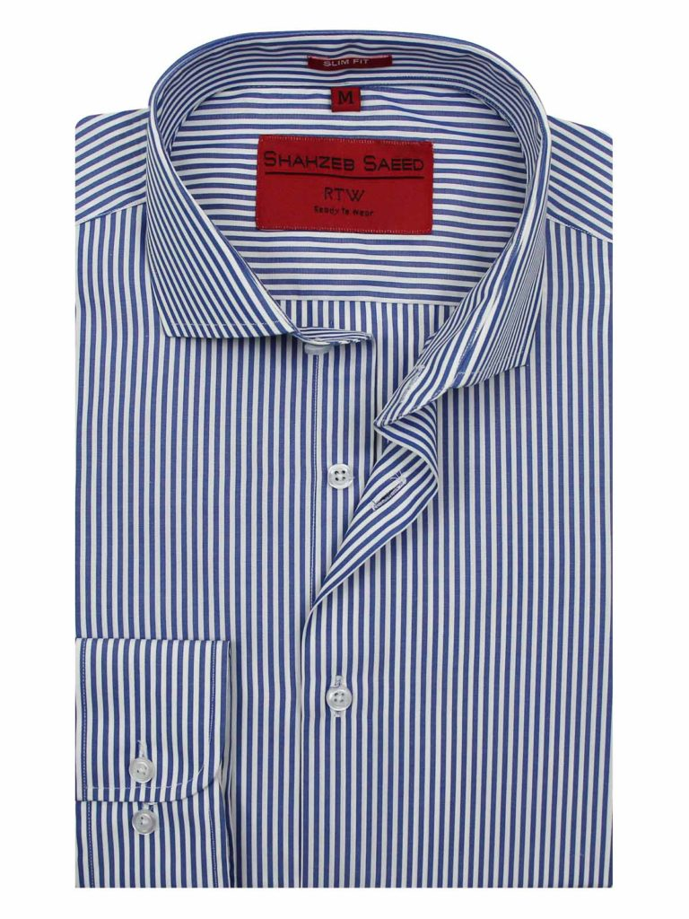 Striped Shirts For Men A button-down eye-catching, playful, and impeccably stripes shirt with long sleeves is an awesome choice for formal work. This men striped shirt has been tailored from lightweight cotton-poplin and its cutaway collar design fit for a tie. It is perfectly suited with a navy suit.