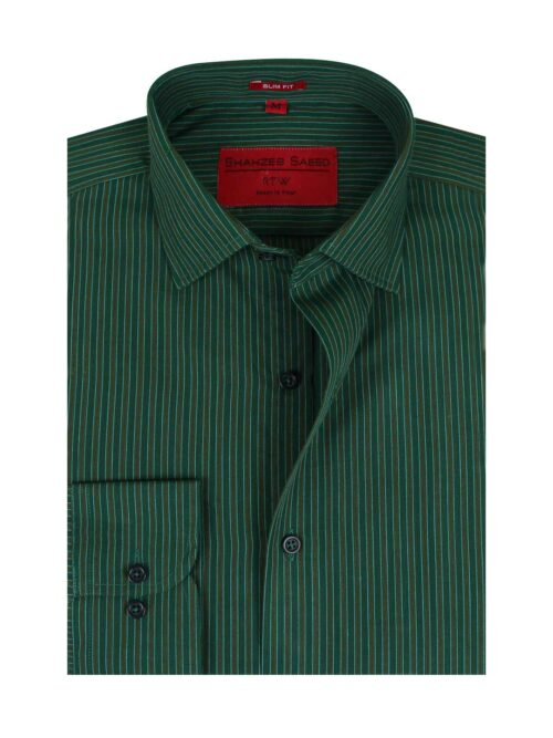 Brown and green stripes shirt