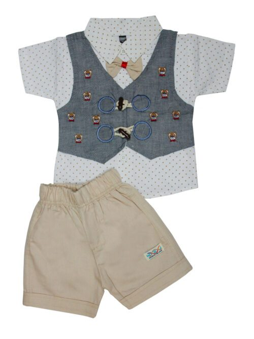 Grey and fawn boy suit