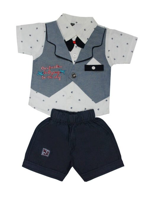 Grey and navy blue boy suit